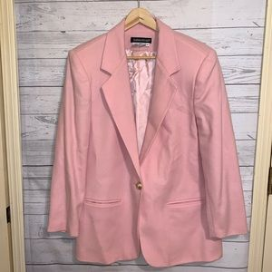 Savanna Pink Single Button Long Wool Blazer 14P